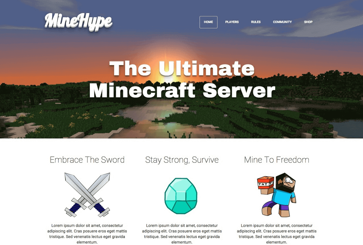 MineHype - Minecraft website